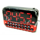 Bright Red Digital Clock Radio - SD Card Music -
