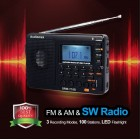 Portable Radio AM FM Short-Wave + SD Memory Card plays MP3 &  WMA + Records